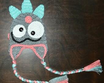 Monster Earflap Handmade Crochet Beanie Hat Baby Girl Boy Photo Prop Custom Made