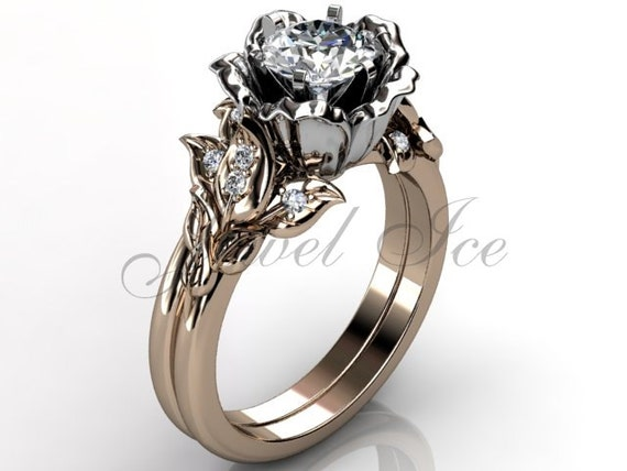 14k two tone rose and white gold diamond unusual unique floral engagement rin