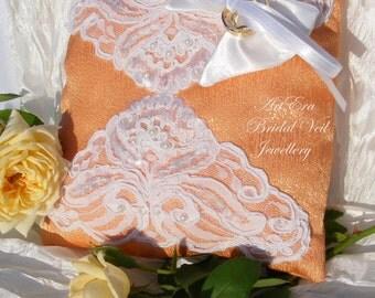 Wedding peach lace Ring Pillow - Bearer Ring Pillow - Lace Wedding Ring Pillow - Satin Wedding Ring Pillow - Elegant Wedding Pillow
