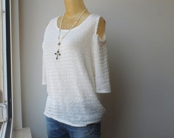 White Top, Knit Top, Minimalist Top, Vintage