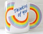 Thinking of You Rainbow Mug with Rainbow Handle
