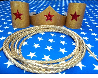 Wonder Woman Costume Accessories - Tiara, Cuffs, Lasso, Super Hero Corset lacing (GCL)