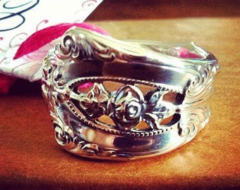 Vintage 1934 Rosepoint sterling silver spoon ring