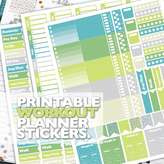 Printable Fitness Planner Stickers
