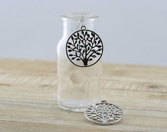 Silver Tree Hook Earrings