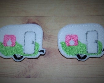 Set of 2 Camper Feltie Felt Embellishments