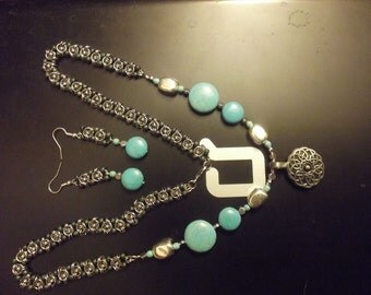 Celtic Turquoise Necklace and Earring Set