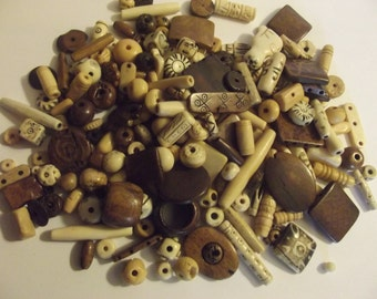 100 grams 3.5oz Mixed bone beads, bead assortment, grab bag
