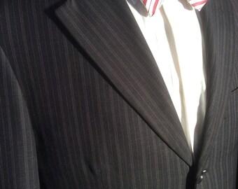 Black Brown pinstripe wool Zegna Blazer 3 button slight damge 38 R slim fit