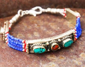 Thin Lapis Tibetan Beaded Tribal Bracelet
