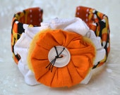 Halloween Cuff Bracelet - Fiber Art Bracelet - Fall - Candy Corn Cuff Bracelet- Pam George Quilts - Teachers Gift - Halloween Jewelry