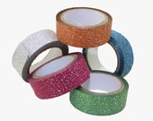 Set of 5 Assorted Colors 12MM Glitter Paper Craft Tape Scrapbooking DIY Washi Adhesive Gift Wrap Wrapping Christmas Card Stocking Stuffer
