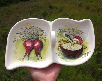 Vintage Hand Painted Italian Relish or Condiment Dish, Mangioli