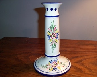 Handpainted Vintage Pottery Candle Holder Taper Candlestick Portugal