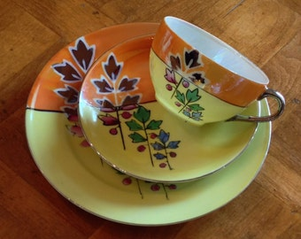 Gold Castle Chikusa Lusterware Snack Set Trio of Teacup Saucer and Salad Plate