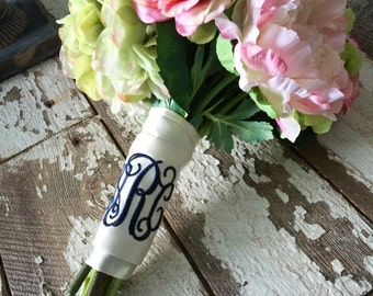 Monogram Bouquet Cuff for Bridal Bouquet
