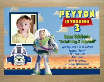 Buzz Lightyear Toy Story Birthday Invitation - Digital File (Printing Available)