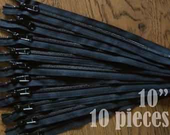 "black zippers, handbag zippers, purse zippers, 10"" zippers, ykk zippers, 10 inch zips, wholesale zippers, bulk zippers - no. 4.5 10 zippers"