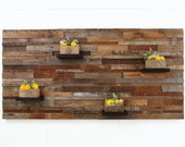 """Wood wall art with wood shelves 60""""x30""""x6"""" made of reclaimed barnwood"""
