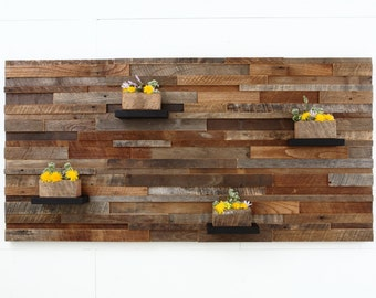 """Wood wall art with wood shelves 60""""x30""""x6"""" made of reclaimed barnwood, Large wall art, Large art, wood wall sculpture"""