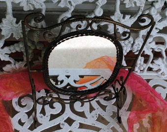 Mirror Standing & Tilting - Scrolled Metal, Wood Back - Vintage - Fabulous!
