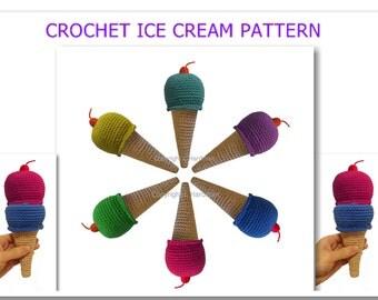 ICE CREAM CROCHET Pattern - pretend food, toy amigurumi,  sweet kawaii, toy rattle, mobile baby crochet pattern - Instant Download