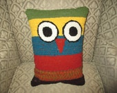Rug Hooked Owl Pillow