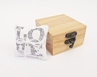 FREE SHIPPING, Wedding LOVE ring bearer box / pillow, Wooden ring bearer box, Pillow alternative, Wedding keepsake box,Card box, Jewelry box