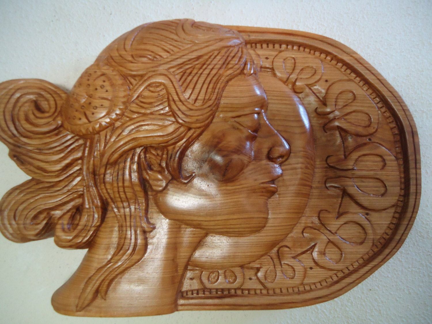 Wood carving sculpture wall art ash