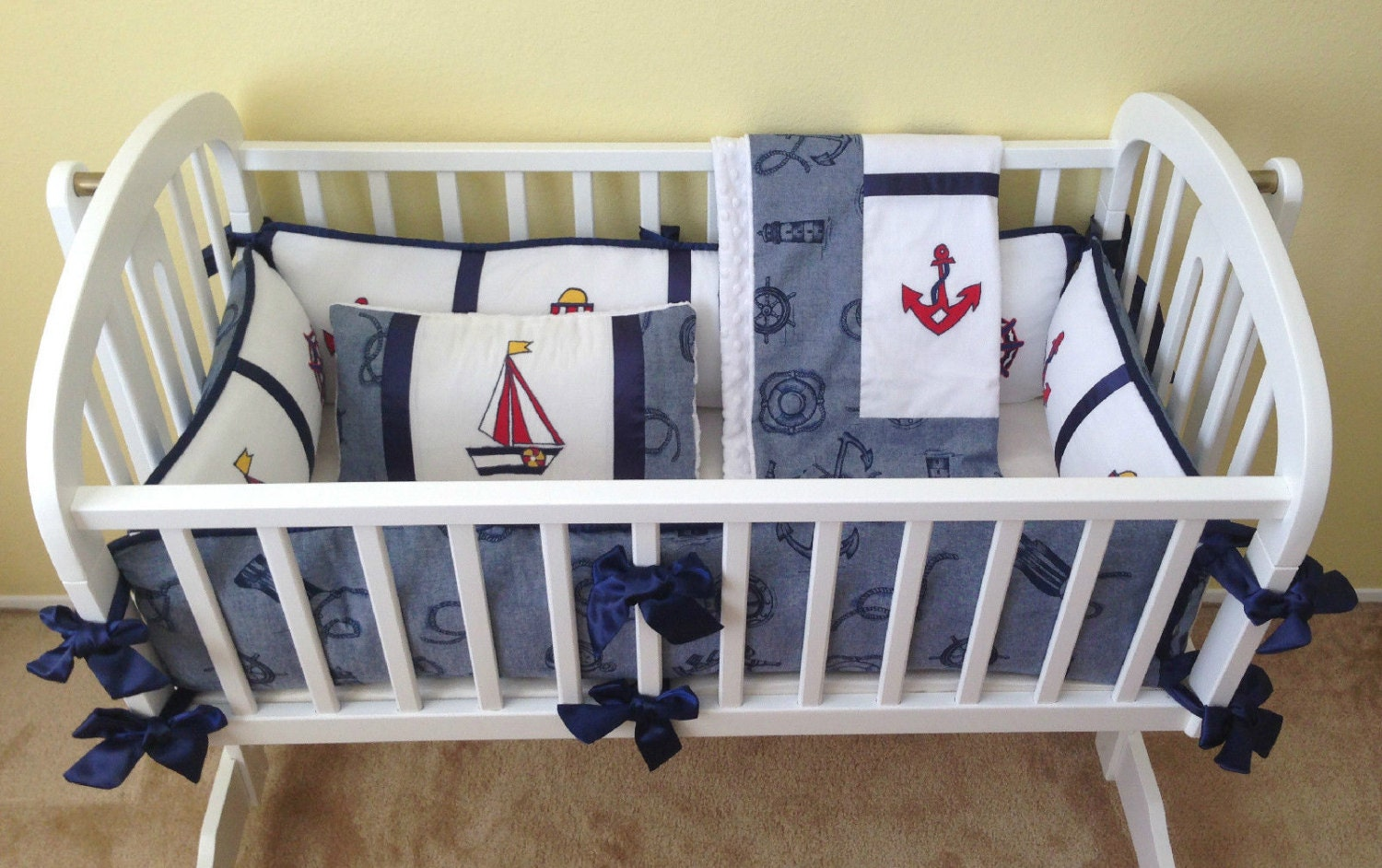 Nautical Theme Baby Cradle Bedding Set Anchors By Copagedesigns