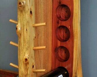 Oak and Cedar 8 bottle wine rack.