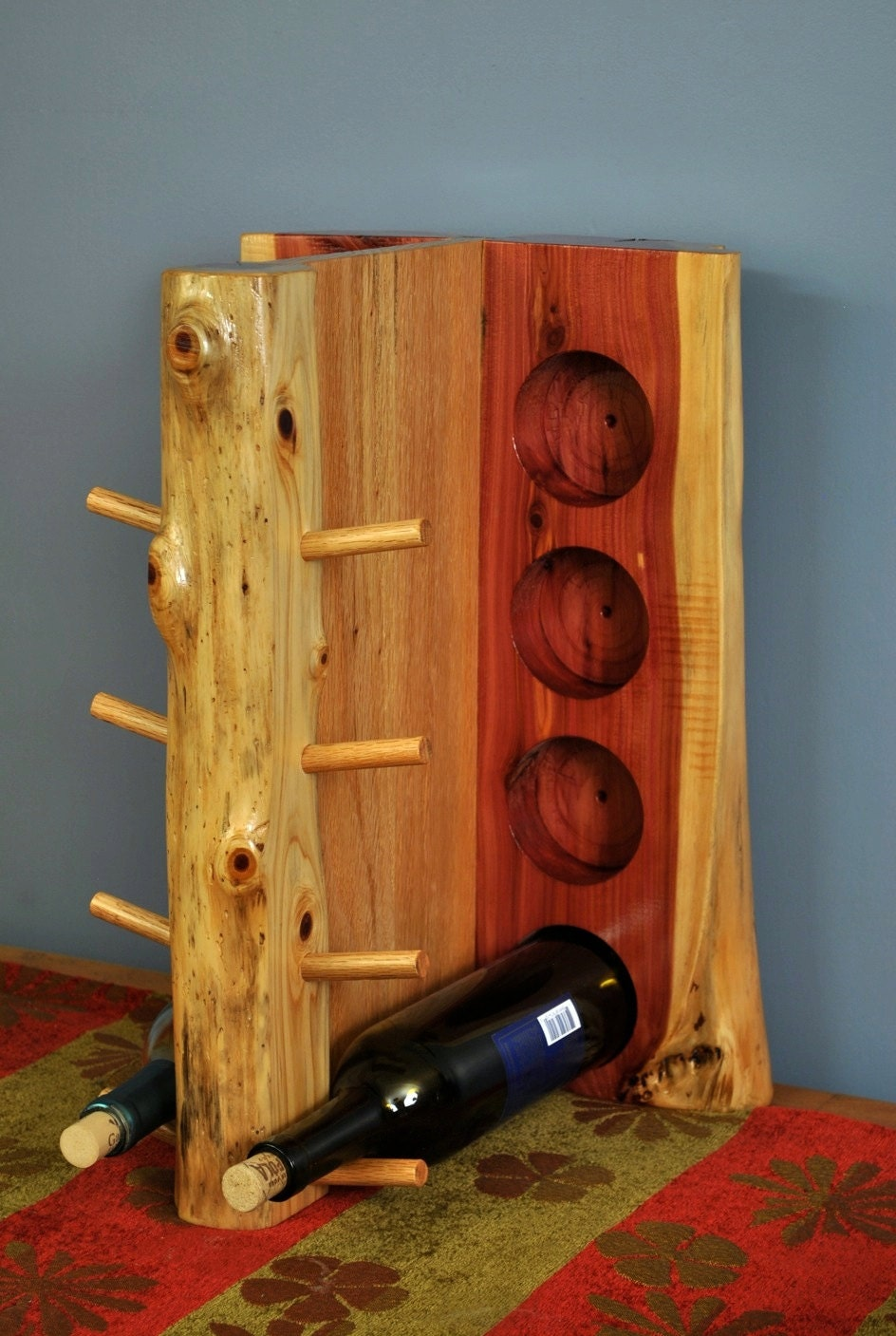 Oak and cedar 8 bottle wine rack - Wine rack shaped like wine bottle ...