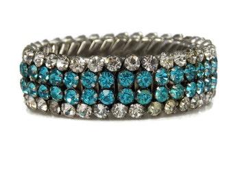 Airflex Aqua Clear Crystal Rhinestone Expansion Bracelet Rhodium Plated 1940s