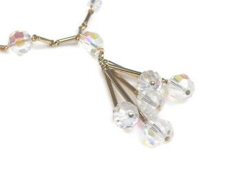 Sarah Coventry Aurora Borealis Crystal Tassel Necklace