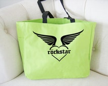 Rockstar heart tote bag - rockstar themed gift - polyester tote bag - heart and wings tote bag - original design rockstar bag