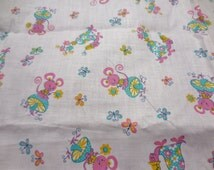 1.5 Yards of Vintage Material Yardage Novelty Fabric Baby Blanket Baby Quilt Pink Turtles Mice Mouse Mushrooms Butterflies Flowers