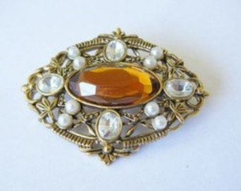 Fabulous Vintage Signed AVON Brooch Wonderful Topaz and Pearls
