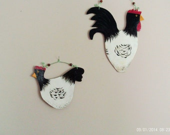Free Shipping! Country Kitchen Decor Wooden Rooster Wall Art