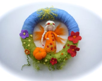 Pumpkin Fairy  Wreath . Needle Felted. Waldorf.Wool.Autumn.