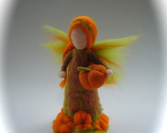 Hand-felted.Needle felted. Waldorf. Felted.Pumpkin flower fairy.flower child.Nature table.