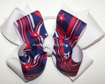 Patriotic Hair Bow, Red White Blue Hairbow, US Stars Stripes Clip, Patriots Spirit Barrettes, Softball Ponytail, Football Bows Bulk Price