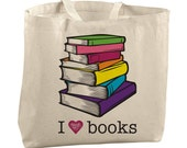 Colorful Canvas Tote Bag Library Bag Reusable Grocery Tote Large Beach Bags Large Totes Teacher Bags Editor Copywriter Librarian Gift Ideas