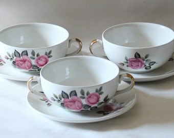 Three Elegant Pink Rose Soup Bowls and Saucers 80's Vintage