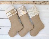 Holiday Sale!!! Christmas Stockings Set of 3 - Burlap Stockings, Christmas Stockings, Stockings