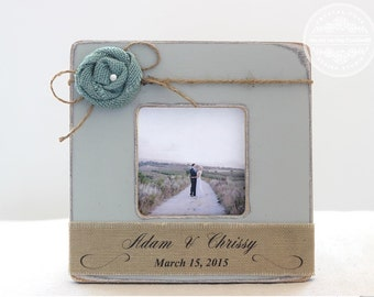Burlap Wedding Personalized Picture Frame. Rustic Vintage Wedding Decor Gift Burlap Shabby Vintage Beach Wedding