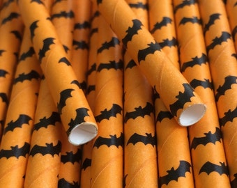 25 Orange with Black Bat Paper Drinking Straws - Halloween - Party Decor Supplies Tableware