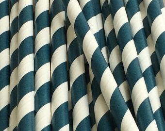 25 Navy Stripe Paper Straws - Drinking Straws  - Party Supplies