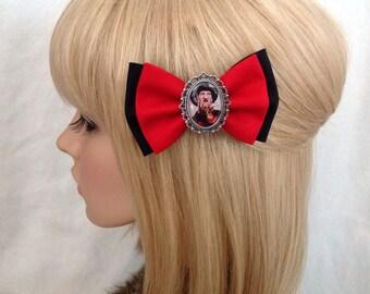 Freddy Krueger Nightmare on Elm street hair bow clip rockabilly psychobilly pin up punk alternative fabric black red horror Halloween scary