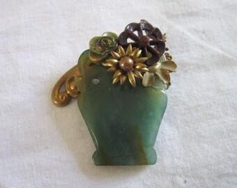 Wonderful Jade Art Glass & Metal Large Flower Vase Brooch