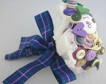 Scottish Button Bouquet - Scottish Tartan Wedding Bouquet - Thistle Wedding Bouquet